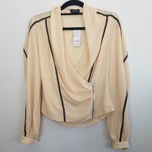 NWT Bebe multi trim zip wrap blouse
